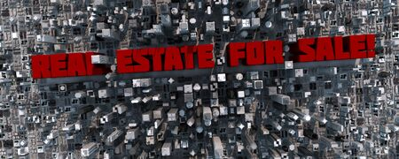 Real estate for sale in a big 3D city photo