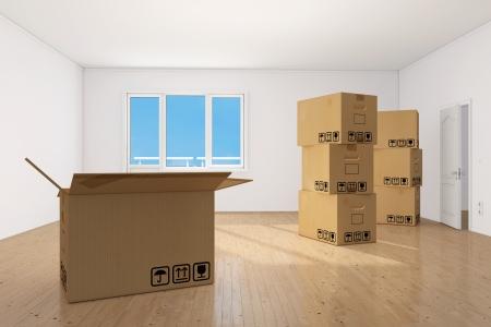 forwarding: Muchas cajas de mudanza en la luminosa sala limpia apartamento empy