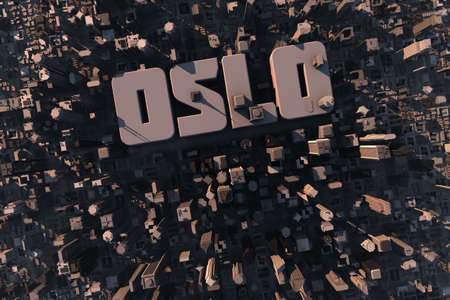 Top view of urban city in 3D with skycrapers, buildings and name Oslo photo