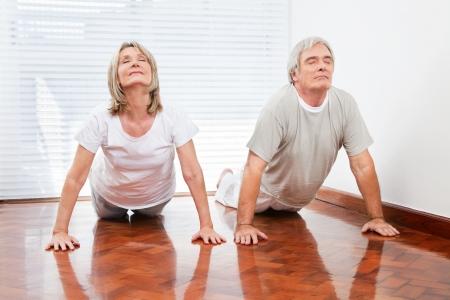 bhujangasana: Two senior people doing yoga exercise Bhujangasana in gym