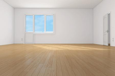 3d bedroom: Empty clean room with parquet floor in apartment