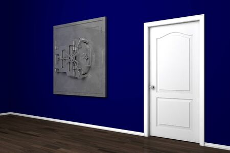 Big private vault in apartment with blue walls and door Stock Photo - 12361416