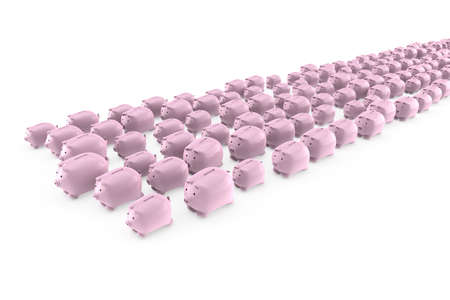 Flock of many pink piggy banks running away photo