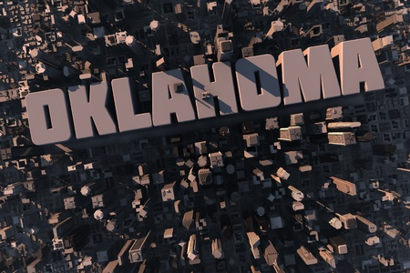 Top view of urban city in 3D with skycrapers, buildings and name Oklahoma photo