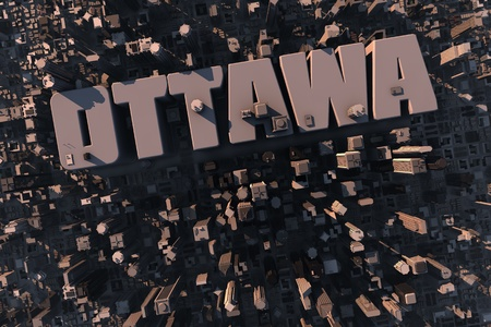 ottawa: Top view of urban city in 3D with skycrapers, buildings and name Ottawa