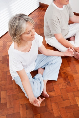 Relaxed senior people meditating in yoga class in gym Stock Photo - 12361566