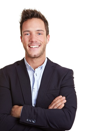 Happy smiling business man with arms crossed photo