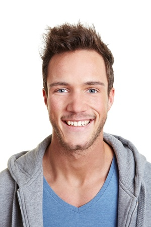 Head shot of happy smiling attractive man photo