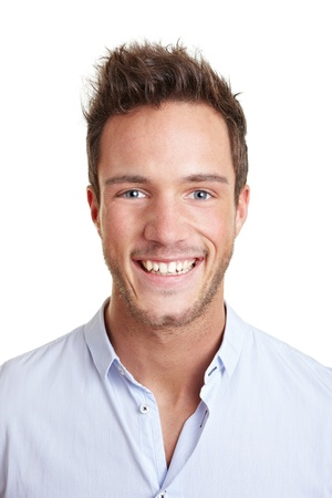 Head shot of attractive smiling young business man photo