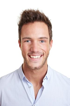 foto carnet: Tiro de la cabeza de la atractiva joven sonriente hombre de negocios Foto de archivo