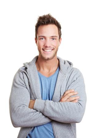 foto carnet: Feliz el hombre que sonr�e con los brazos cruzados