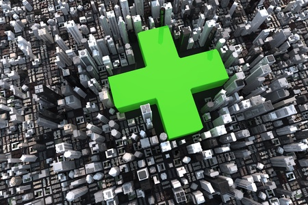 Big green cross in a 3D city with skyscrapers Stock Photo - 12769743