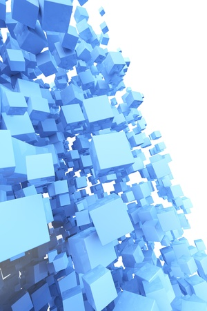 cuboid: Many flying abstract blue 3D cubes on white background Stock Photo