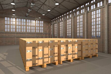 euro pallet: Warehouse with many transport boxes on pallets Stock Photo