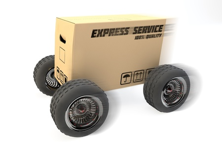 forwarding agency: 3D box with express delivery on wheels