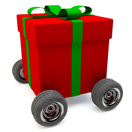 Delivery service for a red gift on wheels photo
