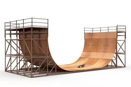 rámpa: Fából készült 3D félcső a gördeszka elszigetelt fehér háttér