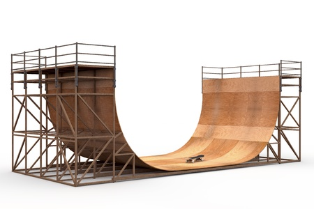 on ramp: Wooden 3D halfpipe with skateboard isolated in white background Stock Photo