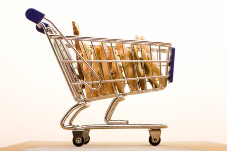 Many small biscuits in a shopping cart photo