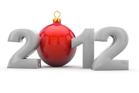 Year 2012 in 3D letters with red christmas tree ball as Zero Stock Photo - 13322437
