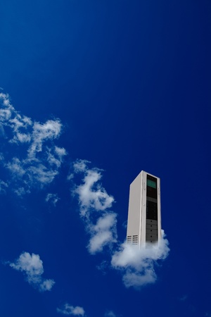 Server in a cloud with blue sky as cloud computing concept photo