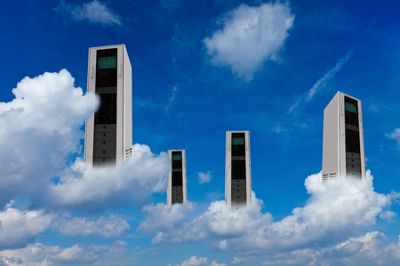 Many computer server in clouds as cloud computing concept