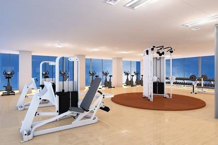 gym room: Empty fitness center with different training equipment Stock Photo