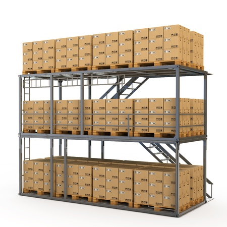 storage box: Warehouse with many stacked boxes on pallets Stock Photo