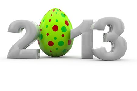 The letters 2013 with a green easter egg in 3D as Zero Stock Photo - 13322438