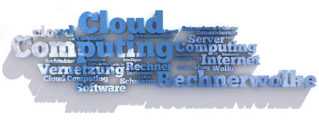 Tag-Cloud in 3D illustrating Cloud Computing concept photo
