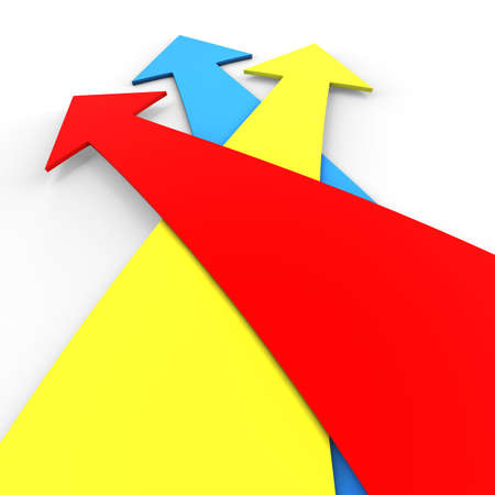 Three colorful arrows in 3D on top of each other marking a direction photo