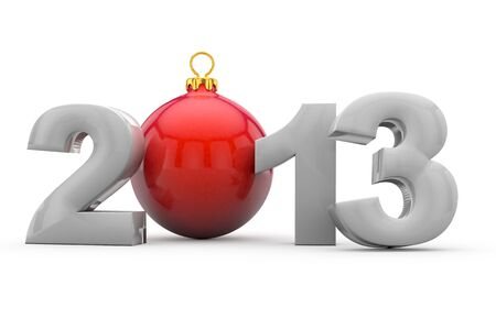 Year 2013 in 3D letters with red christmas tree ball as Zero Stock Photo - 13329286