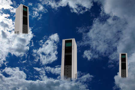 Three computer server in clouds as cloud computing concept photo