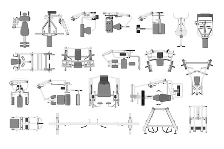 Different fitness training equipment for weight training in 3D from above photo
