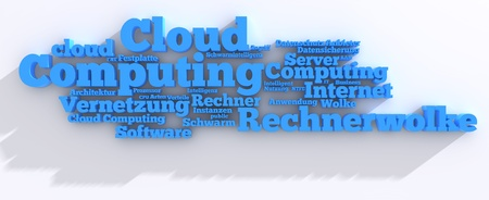 Cloud Computing Tag-Cloud in 3D with shadows photo