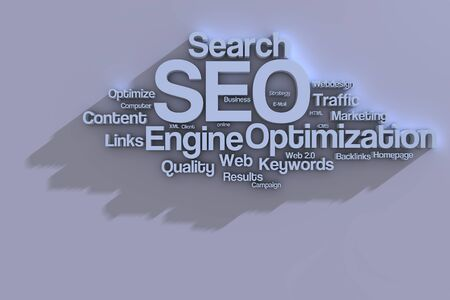 sem: Search Engine Optimization Tag-Cloud in 3D Stock Photo