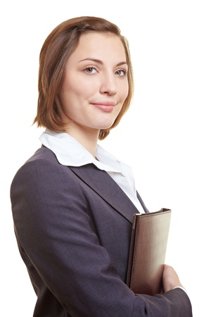 testimony: CV of attractive female executive in her arms Stock Photo