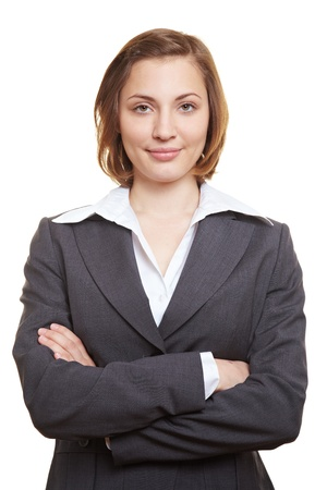 Happy businesswoman in suit with her arms crossed Stock Photo - 14011916