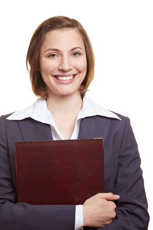Happy female job applicant in suit holding CV photo