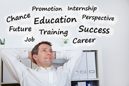 Relaxied vusiness man thinking about education and success Stock Photo - 14249619