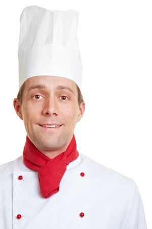 Smiling chef cook in his uniform with hat and scarf photo