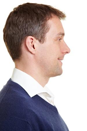 hombre de perfil: Perfil de vista de la sonrisa de hombre de negocios confiados Foto de archivo