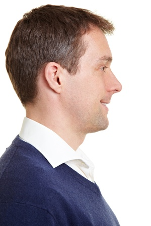 Profilo di vista sorridente, uomo sicuro d'affari Archivio Fotografico