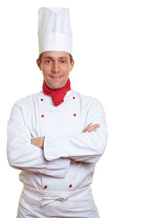 chef hat: Portrait of confident chef cook with his arms crossed Stock Photo