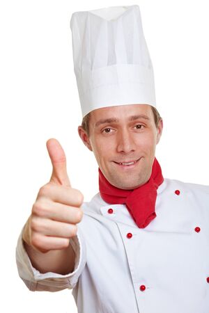 Happy chef cook holding his thumbs up photo