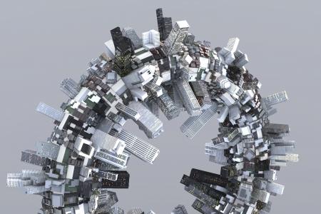 3D에있는 반지에 미래의 유토피아 도시 스톡 콘텐츠