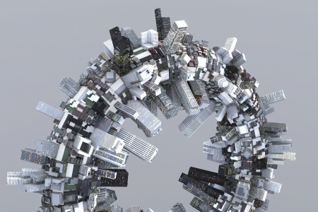 Utopian city of the future on a ring in 3D photo