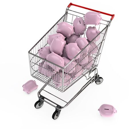 cheaper: Many pink piggy banks in a 3D shopping cart Stock Photo