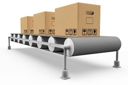 lopende band: Lopende band met een aantal dozen in 3D Stockfoto