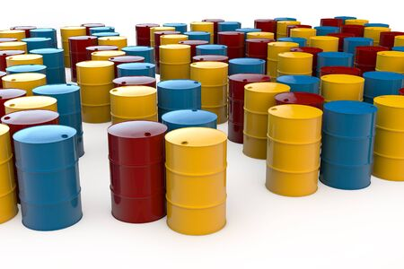 Different oil barrels in 3D standing on white background photo